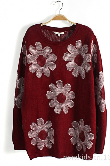 Red Loose Floral Pattern Sweater
