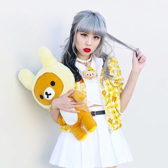 jacket kawaii bear white outfit japan japanese fashion jewels tokyo shirt skirt pastel pastel hair kawaii girl tokyo fashion stuffed animal rilakkuma stuffed animals rilakkuma yellow home accessory kawaii accessory