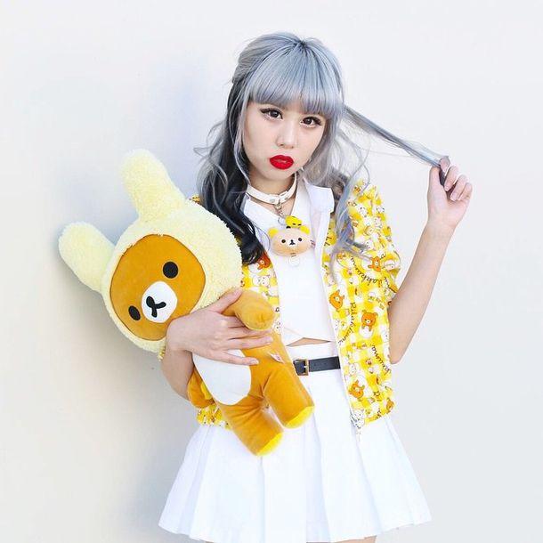 Jacket Kawaii Bear White Outfit Japan Japanese Fashion Jewels