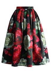 skirt,peonies bloom in dark pleated midi skirt,chicwish,pleated skirt,midi skirt,floral skirt