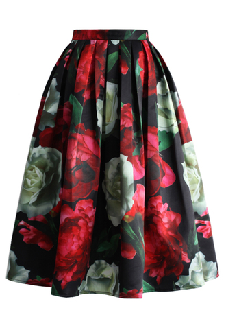 skirt peonies bloom in dark pleated midi skirt chicwish pleated skirt midi skirt floral skirt
