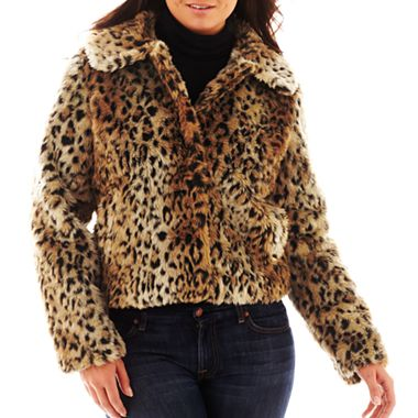 Excelled Leather Short Faux-Fur Jacket - Plus