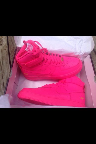 shoes air force ones high top sneaker nike sneakers nike air force 1 pink shoes pink pink air force ones