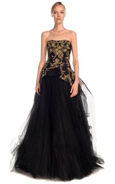 dress black dress prom dress long dress ball gown dress black and gold tule