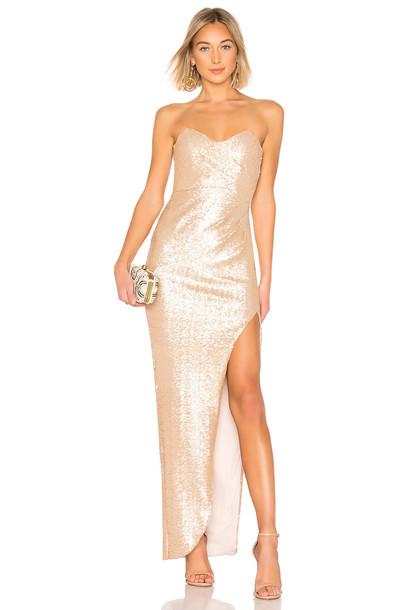 Nookie Adele Sequin Gown in gold / metallic