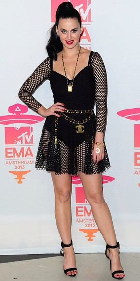 fishnet black mesh net dress fish fish net leotard bodysuit vma mtv katy perry katy perry celebrity fashion