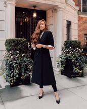 coat,long coat,wool coat,black coat,shirt,mid heel pumps,pumps,slingbacks