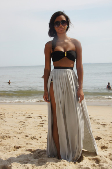 skirt summer long maxi gorgeous grey sun sublime double slit skirt double split skirt maxi skirt black swimwear gold girly sweet beach dress
