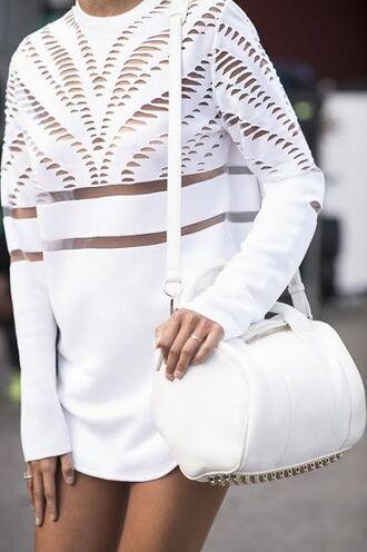 dress shirt sweater sweatshirt tshirt dress all white everything mesh blouse