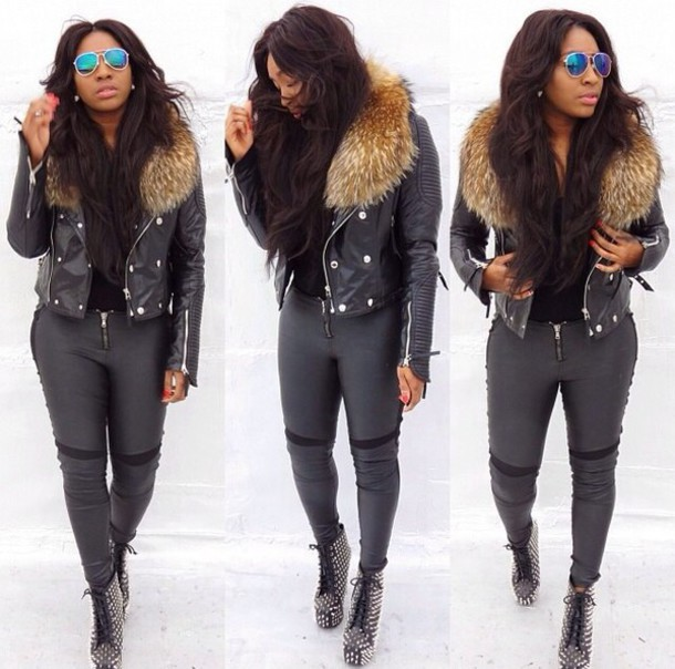 Jacket: fur jacket, leather jacket, black leather jacket, yello ...