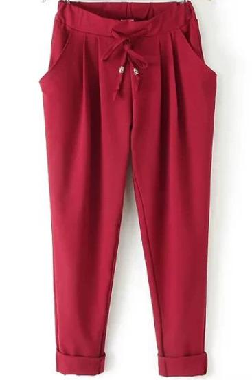 Red Elastic Drawstring Waist Pockets Pant - Sheinside.com