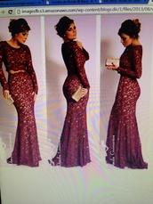dress,lace wedding dress,long prom dress,prom dress,wine color lace dress,ball gown dress,evening dress,starry night,wine colored dress,long sleeve dress