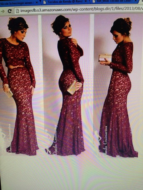 dress lace wedding dress long prom dress prom dress wine color lace dress prom dress ball gown dress evening dress starry night wine colored dress long sleeve dress