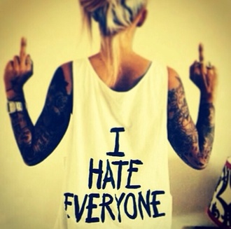 tank top i hate everyone hate everyone tank white black text black writing