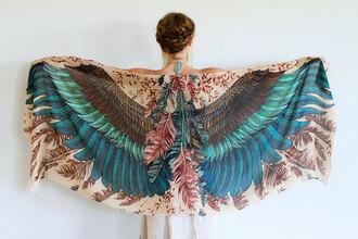 scarf birds feathers boho silk scarf