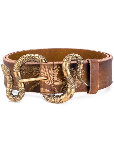 snake women belt leather brown