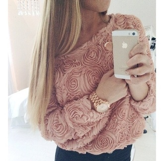 sweater rose pink shirt blouse pink rose long sleeves roses girly pullover jumper phone chiffon edgy flowers top pink dress pastel cute roses flowers spring light pink