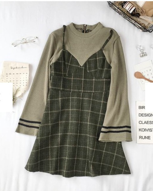 dress girly plaid plaid dress two-piece two piece dress set sweater cute