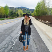 all dolled up,blogger,dress,shoes,cardigan,tank top,hat,sunglasses,t-shirt,jewels,bag,ripped jeans,black hat,skinny jeans,peep toe heels,boots,stripes