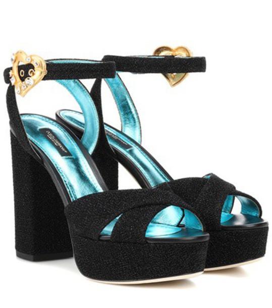 Dolce & Gabbana Crystal-embellished plateau sandals in black