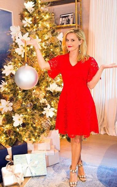 dress red red dress reese witherspoon sandals holiday season instagram