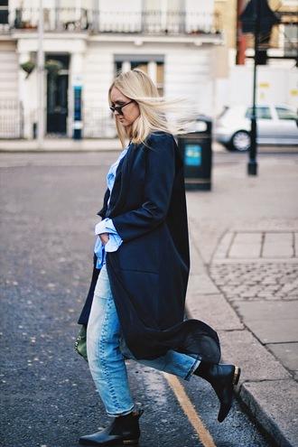 en vogue coop blogger coat denim shirt black coat boyfriend coat chelsea boots scarf blouse jeans bag