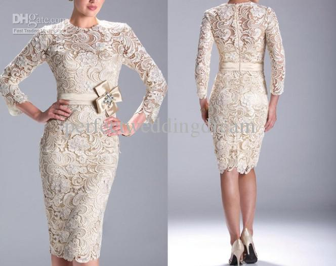 Buy gorgeous long sleeves lace evening gown knee length sheath/column short pageant occasion gown custom made mother of the bride dress, $128.13