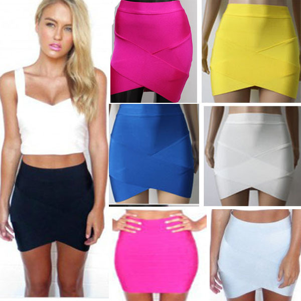 Bandage Rayon Good Elastic Women Skirts Mini Sexy Slim Pencil Clubwear Suitable Black Gray Rose Green HL135 2-in Skirts from Apparel & Accessories on Aliexpress.com