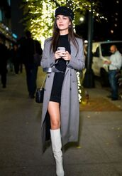 coat,victoria justice,grey,grey coat,dress,black dress,boots,celebrity,fall outfits
