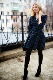 tights,tumblr,tartan,plaid,tartan dress,fall dress,opaque tights,shoes,black shoes,fall outfits,wrap dress,mini dress
