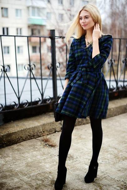 bf2f3043fe5ed tights, tumblr, tartan, plaid, tartan dress, fall dress, opaque ...