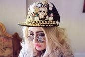 hat,gold,embellished,studded,snapback,dope