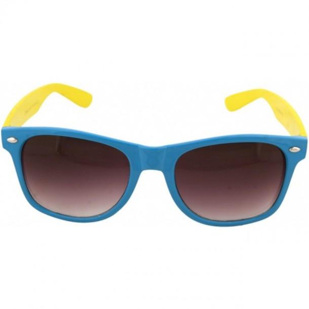 blue raybans 1ln0  sunglasses blue and yellow sunglasses sunnies glasses yellow blue rayban  rayban rayban rayban
