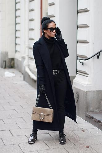 nataliaoona blogger jacket shirt jeans shoes belt bag sunglasses fall outfits black coat black jeans derbies gucci bag