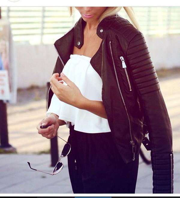 jacket classy leather jacket hot chic tank top leather black leather jacket leather \ black jacket beautiful jacket spring jacket sexy