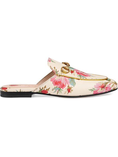 gucci metal rose women slippers leather white print shoes