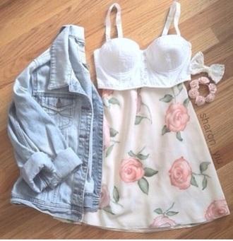 pink floral circle skirt
