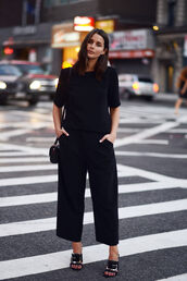 harper & harley,blogger,top,bag,pants,black culottes,black pants,culottes,wide-leg pants,black top,sandals,high heel sandals,mules,black mules,black bag,all black everything