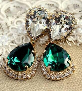 jewels earrings diamonds emerald green emerald teardrop diamonds green earrings statement earrings