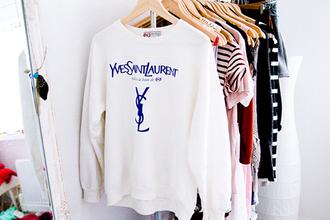 sweater shirt hoodie sweatshirt oversized sweater yves saint laurent ysl white jewels