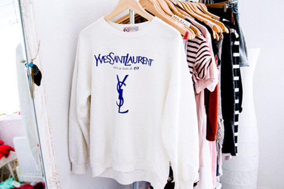 sweater hoodie yves saint laurent ysl sweatshirt shirt oversized sweater white