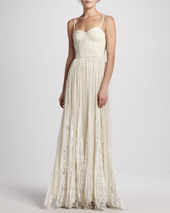 Alice   Olivia Geneva Bustier Pleated Maxi Dress - Neiman Marcus