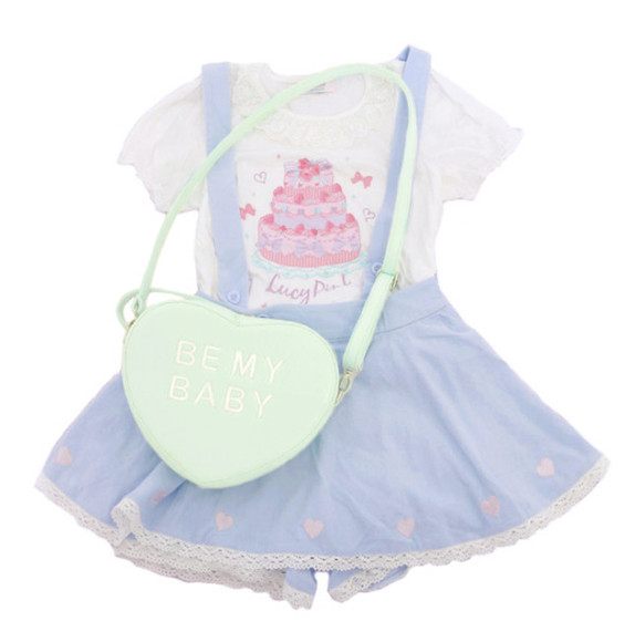 bag satchel skirt suspenders purple kawaii sweet cake mint side strap candy hearts