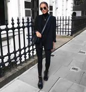 jeans,black jeans,skinny jeans,boots,leather boots,turtleneck,black turtleneck top,black blazer,round sunglasses,crossbody bag