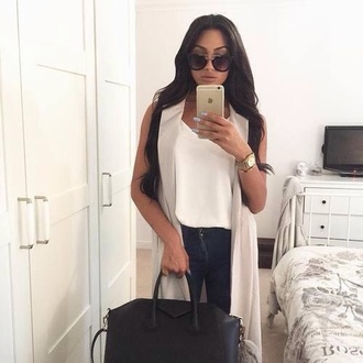 cardigan white grey sunglasses black coat jacket ripped jeans heels brunette handbag fashion classy jewelry tank top crop tops