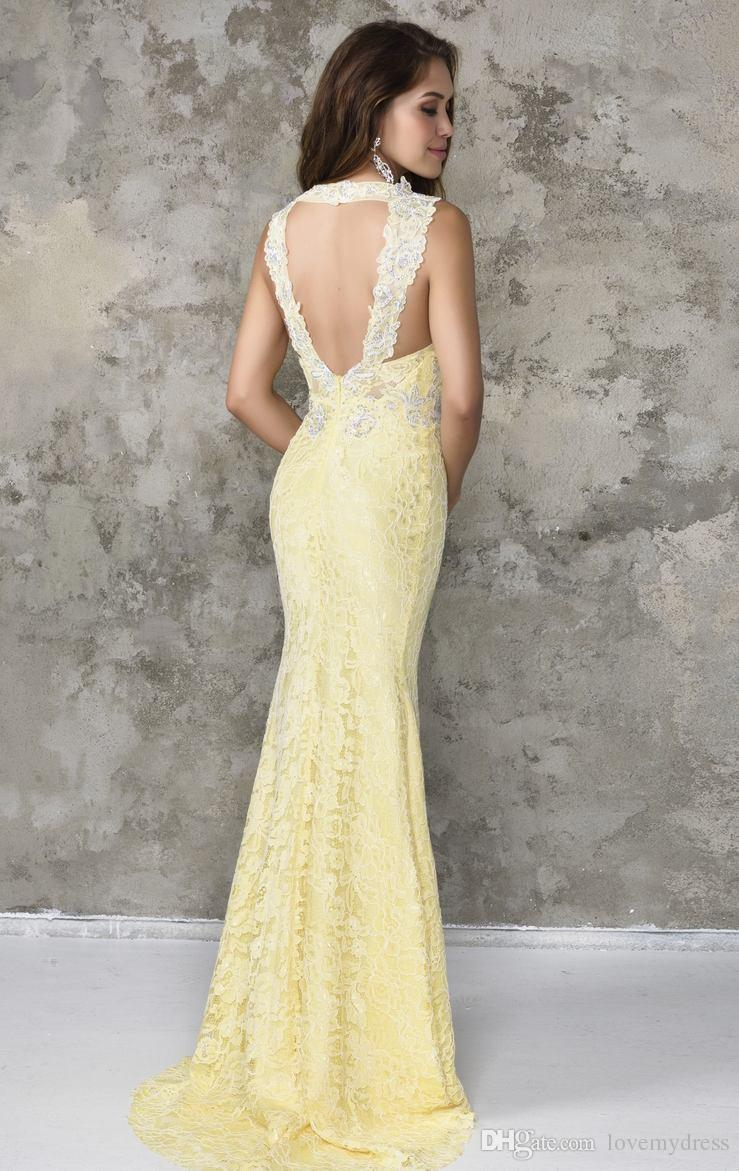 def8e4d45b108 Yellow Prom Cheap Lace Deep V Neck Halter Sleeveless Backeless Sexy Open  Back Mermaid Style Appliques Formal Dress Custom Made Modern ...