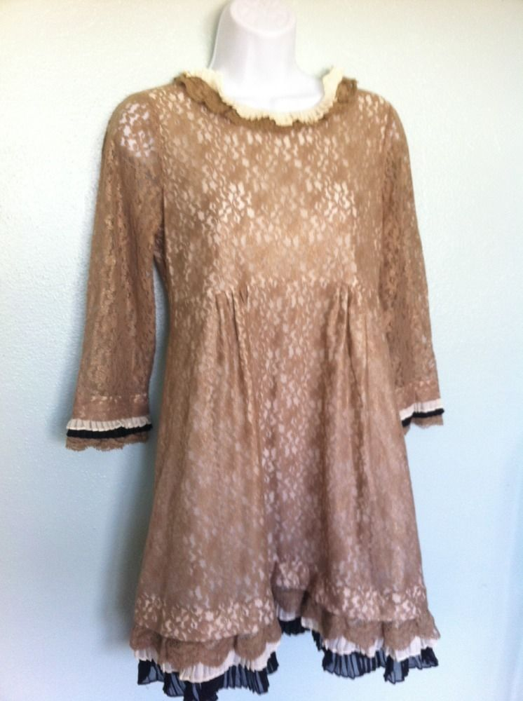 Marc jacobs tan gold lace dita babydoll dress size 4 seen on gossip girl