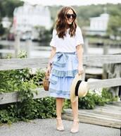 skirt,ruffle skirt,hat,tumblr,midi skirt,blue skirt,ruffle,sandals,sandal heels,high heel sandals,sun hat,top,white top,sunglasses,bag,shoes