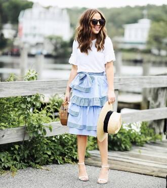 skirt ruffle skirt hat tumblr midi skirt blue skirt ruffle sandals sandal heels high heel sandals sun hat top white top sunglasses bag shoes