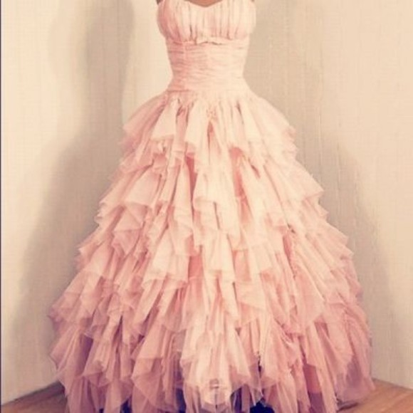 dress pink princess beautiful prom rose long